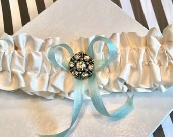 Garter in Silk, Weddings, Heirloom Garter, Handmade in the USA Garter, Ivory Garter, White Garter, Brooch Garter