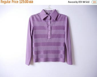 Summer Sale 70s Pleated Blouse Muted Purple S //107