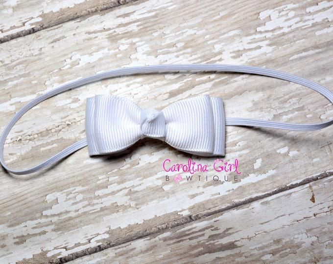 White Stacked Tiny Bow ~ White Newborn Headband - Smallest Bow Headband - Girls Hair Bows