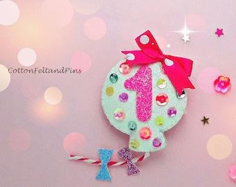Personalised Birthday Balloon hair clip Handmade glitter and Felt birthday balloon hair barrette, or brooch pin