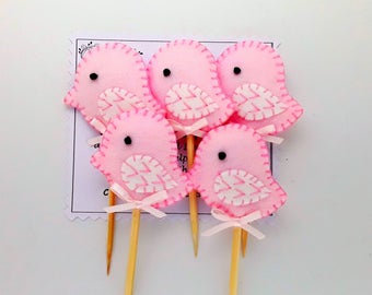 Baby Shower,Pink bird Padded felt cupcake toppers FREE UK POSTAGE