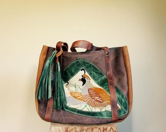 Sale//://Vintage Cross Stitch and Mixed Leather Tote with Horween Leather Straps