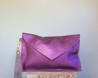 NEW///Metallic Purple Leather Envelope Clutch with Horween Leather Wrist Strap