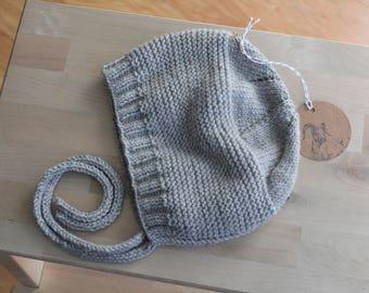 Hand Knit Size 4 Toddler Bonnet / Cap in Light Grey Merino / Baby Alpaca / Silk Blend Yarn
