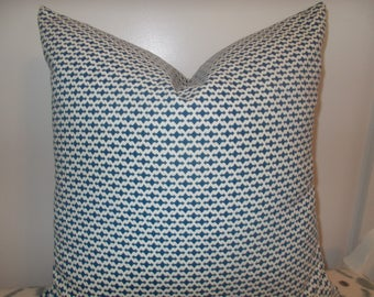 Robert Allen Calypso Arrow and Dot Indigo blue and white accent pillow cover custom blue and white throw pillow