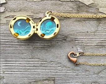 Moon and Kraken Locket, Hand-Painted Tiny Ocean Art, Deep Sea Octopus Necklace