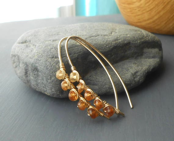 Gold Filled Hessonite Garnet Earrings, Wire Wrapped Gemstone Open Hoop Threader Earrings