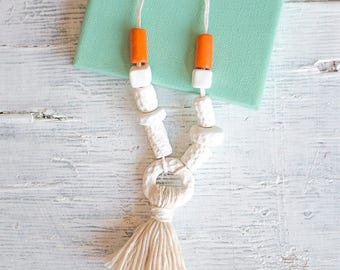 White Necklace, Statement Necklace, Tassel Necklace, Hand made Beads, Gift for her, Summer Necklace, Nature Necklace