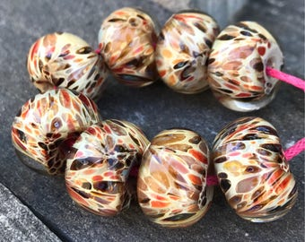 Borosilicate Beads Red and Tan Spotted Lampwork Beads
