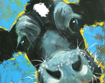 Cow painting 1234 12x12 inch original animal portrait oil painting by Roz