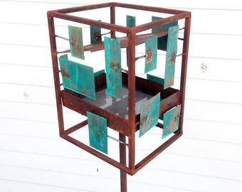 Sculptural Steel & Copper Bird Feeder No. 360 - Freestanding unique modern bird feeder