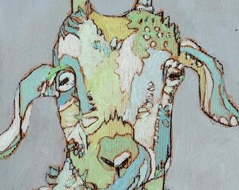 Goat Canvas Art Print by Jennifer Mercede 'Sweet Green Goat'