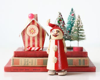 Vintage Santa Toy, Ramp Walker Walking Toy Red and White Clown