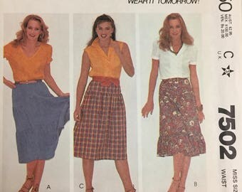 80's McCall's 7502 Misses' Skirts  size 12 Waist 26.5 inches  Uncut Complete Sewing Pattern
