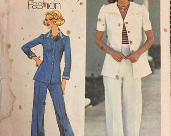 Vintage 1975 Misses Jacket and Pants Sewing Pattern Simplicity 6892  Size 10 Bust 32 Inches Complete