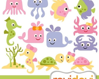 50% OFF SALE Sea animals clipart - Baby sea animals digital clip art - instant download, commercial use