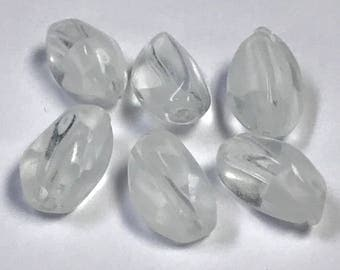 VINTAGE GERMAN GIVRE Glass Beads Clear White Oval 11.5mm pkg2 gl238