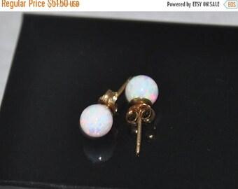 6mm Ball Stud Post earrings, Opal Earrings, Gold Earrings,  14K Gold, Australian Opal, Gold filled, Opal jewelry
