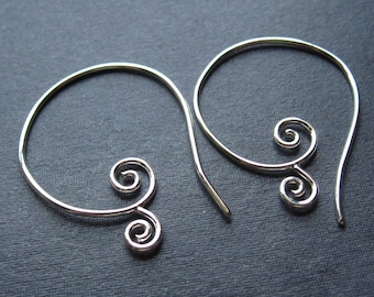 Solid Sterling Silver Curly Cue ear wires