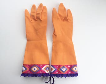 Designer Cleaning Gloves. Size Medium. Tribal. Southwest. Orange. Rubber Dish Gloves. Latex Kitchen Gloves.