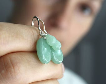 Green Aventurine Earrings . Crystals for Wealth Stone Earrings . Green Gemstone Dangle Earrings Sterling Silver - Oz Collection