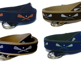 Lacrosse Belt, Lax Belt, Canvas D Ring Belt, White & Navy Web Belt, Khaki Preppy Webbing Belt for boys, girls, and kids