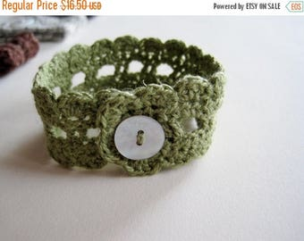First Fall Sale - 15% Off Rustic Romantic Lace Wrist Cuff in Willow - Cotton Linen Blend Fiber Jewelry Bracelet in Green with Shell Button F