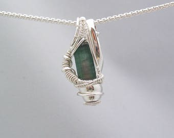 Watermelon Tourmaline Pendant Wire Wrapped Pendant Heady Wire Wrap Jewelry Sterling Silver Tourmaline Crystal Wire Wrap