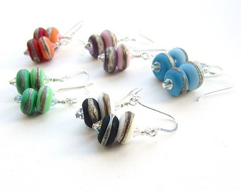 Matte Glass Earrings, Lampwork Beads, Sterling Silver Wires, Simple Bead Earrings