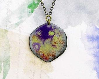 Bohemian necklace Nebula purple necklace Boho jewelry Enamel jewelry