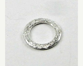SHOP SALE 15mm Flat Circle Shaped Bali Sterling Silver Brushed Line Texture Loop Connector Eternity Rings Links (4 beads)