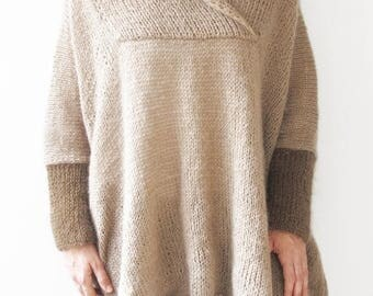 50% CLEARENCE Mohair Hand Knitted Poncho Plus Size Over Size Tunic - Dress by Afra