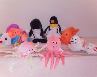 Vintage Ocean Life TY Beanie Baby Collection