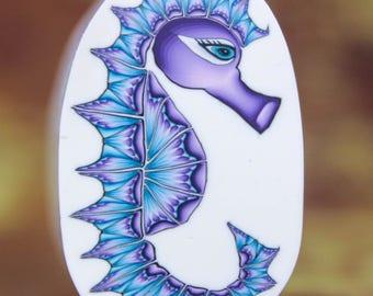 Medium Seahorse Polymer Clay Cane- 'Deep Blue Sea' series (4dd)