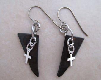 faith cross earrings oxidized copper sterling silver steel dangle