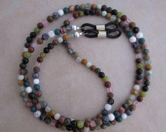 eyeglass chain multi gemstone holder lanyard