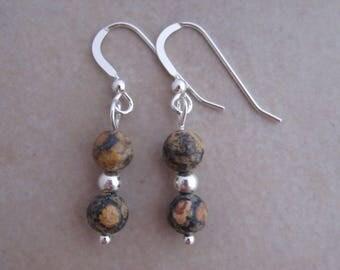leopardskin jasper earrings sterling silver