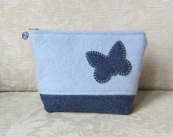 Blue Butterfly Zippered Pouch, Upcycled Felted Sweater Wool Clutch