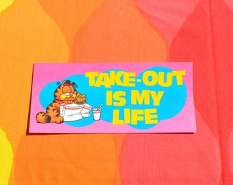 vintage 70s art poster GARFIELD cat take-out is my life post card cardboard funny humor cats argus