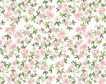 Safari Party Floral White with Gold Sparkle - pink, white, green, and gold floral print - Safari Party Fabric from Riley Blake - 100% cotton