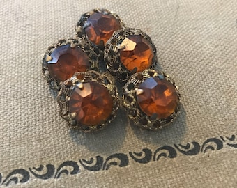 Antique Orange Glass & Brass Buttons. 5 Piece Shank Set