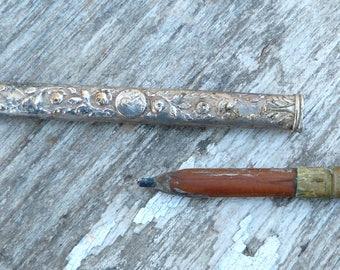 Vintage Antique french 1900 Art nouveau sterling pencil holder pendant /Sainte Therese