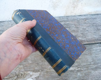 Vintage Antique 1890 Mme de Stael et son temps real leather decorative French book