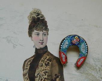 Antique venetian glass Micro Mosaic Horseshoe brooch - Fine Millefiori - 20th century micro-mosaic horseshoe - Grand Tour
