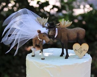 Wedding Cake Moose Topper, Woodland Cake Topper, Animal Cake Topper, Hunting Cake Topper, Rustic Cake Topper