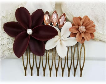 Maroon Burgundy Flower Hair Comb - Dark Red Wedding Comb, Vintage Style Bridal Comb, Autumn Wedding Hair Comb, Rustic Red Hair Comb