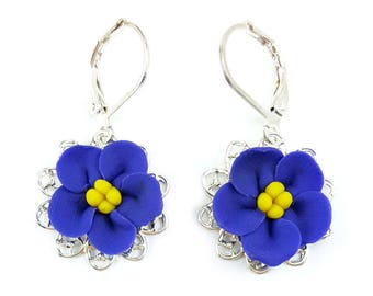 African Violet Filigree Earrings - African Violet Vintage Style Earrings, African Violet Jewelry, African Violet Flowers