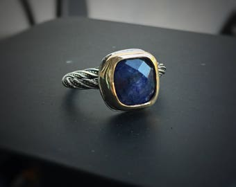 Sapphire Ring,  Silver Stacking Ring, Gold and Silver Mixed Metals, Ring for Women, September Birthstone ring, Sapphire Jewelry