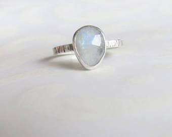 Rainbow Moonstone Ring, Rose Cut Gemstone Ring, Handmade Ring, Sterling Silver, Stacking Ring, June Birthstone Ring, Gift for Her