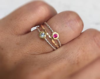 Birthstone Stacking Ring, Dainty Little Ring, Thin Ring, Birthstone Jewelry for Mom, Grandma Gift, Mom to Be Ring, Stacking Rustic Ring